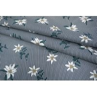 ОТРЕЗ 1,6 М Хлопок цветы на полоске синей UAE-B6 19011817-1