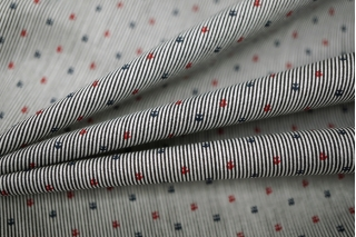 Хлопок-стрейч рубашечный полоска черно-белая UAE-B6 19011809