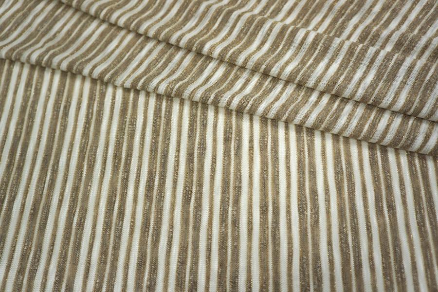 Трикотаж с люрексом в полоску белый-бежевый PRT1-K2 21031822