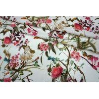 Штапель цветы и птички  на белом LEO1-B2 23041801