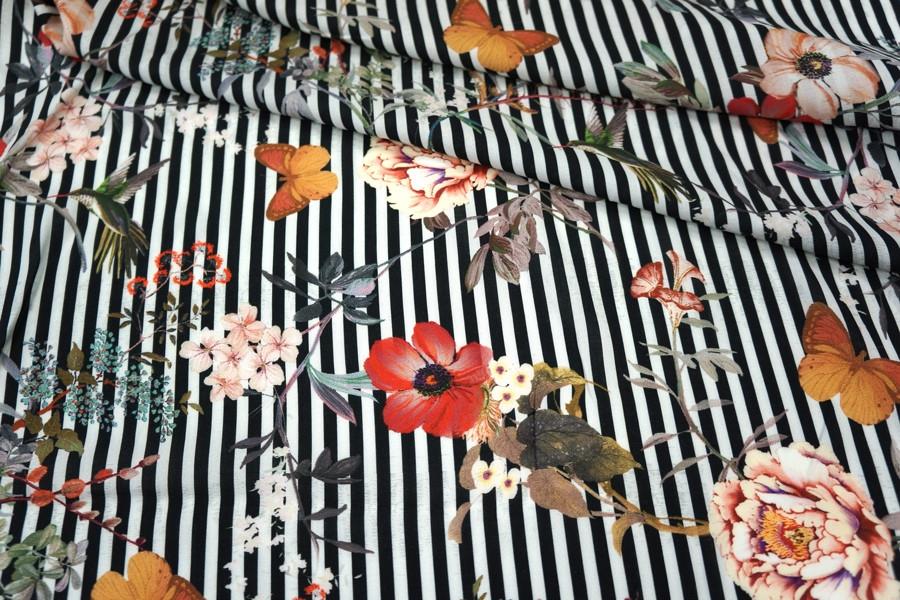 ОТРЕЗ 1,5 М Штапель цветы на полоске LEO1-B2 23041808-1