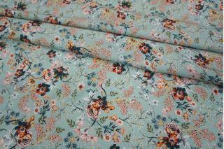 Штапель цветы  на мятном LEO1 23041811