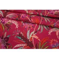 Штапель цветы на розовой фуксии LEO1-B2 23041819