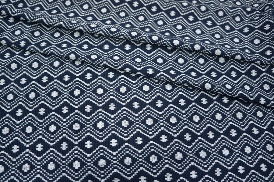 Трикотаж ромбы сине-белые PRT-K3 26031807