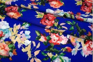 Штапель цветы на синем UAE D-2 26011803