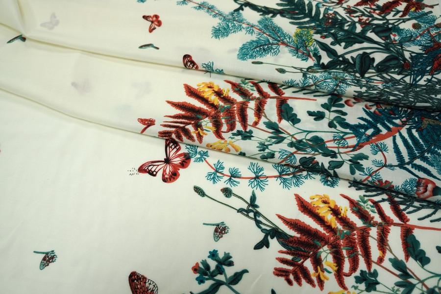 ОТРЕЗ 2,35 М Штапель бабочки КУПОН UAE D-2 26011805-1
