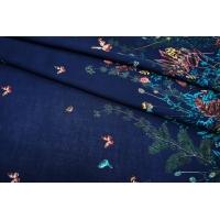 ОТРЕЗ 1,3 М Штапель бабочки на темно-синем КУПОН UAE D-2 26011806-2