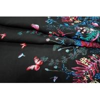 ОТРЕЗ 0,75 М Штапель бабочки на черном КУПОН UAE D-2 26011807-5