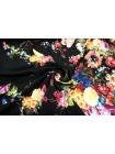 Штапель цветы на черном КУПОН UAE D-2 26011808