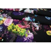 Штапель цветы на черном КУПОН UAE D-2 26011809