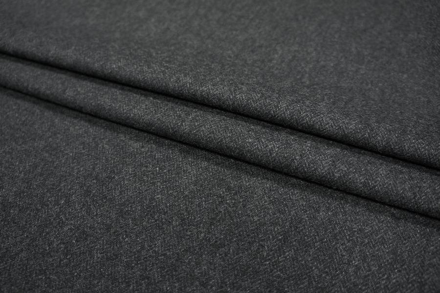 ОТРЕЗ 1,7 М Костюмная шерсть темно-серая в елочку PRT-(30)-  21081823-1