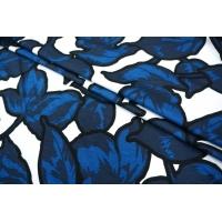 Трикотаж вискозный цветы синие MX-A5 19071801