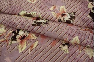 Креповая вискоза цветы на полоске LEO 03091816