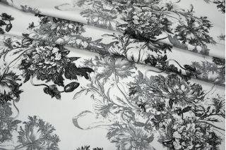 Сатин плательный цветы черно-белый MX1-B4 06091808