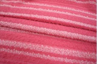 ОТРЕЗ 2.8 М Букле в полоску розовое шерстяное PRT-P2 02111813-1