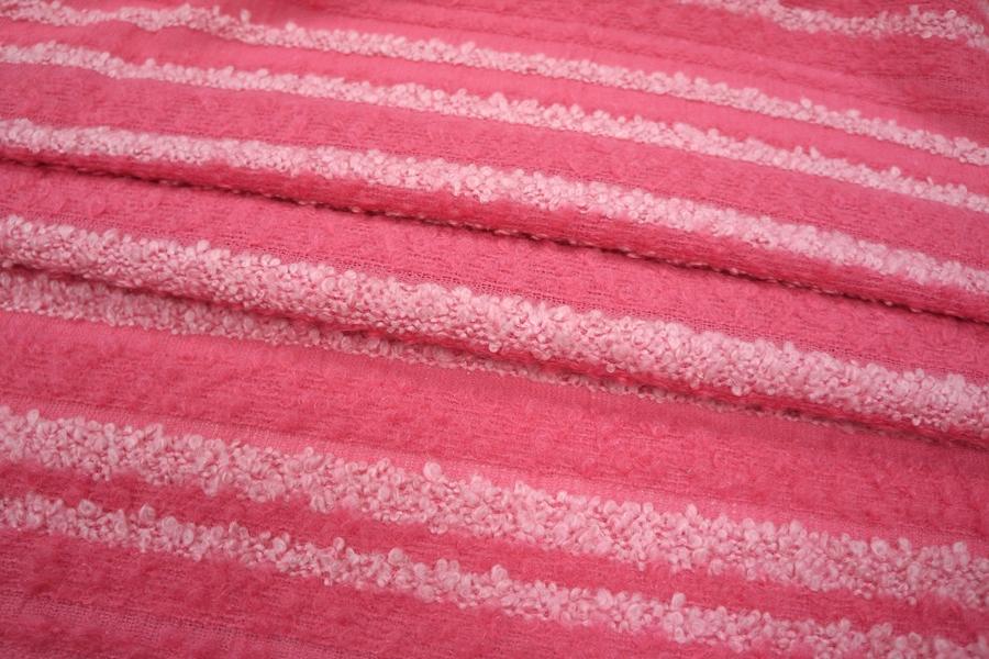 Букле в полоску розовое шерстяное PRT-P2 02111813