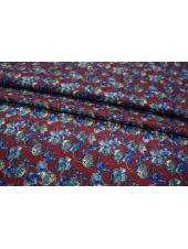 Жаккард шелковый цветы синие PRT-D3 30111801