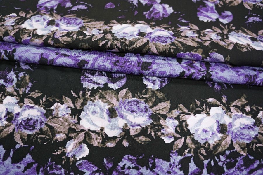 Штапель с твиловым плетением цветы LT1-J4 13121601