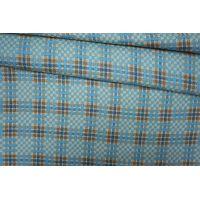Костюмный хлопок с шелком в клетку бежево-голубую PRT-C5 24071911