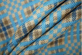 Костюмный хлопок с шелком в клетку бежево-голубую PRT-D4 24071911