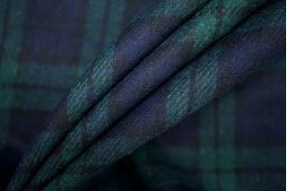 Костюмная шерсть в клетку сине-зеленая PRT- 130 G7 25071903