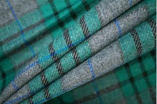 Костюмная шерсть в клетку серо-зеленая PRT-T4 25071904