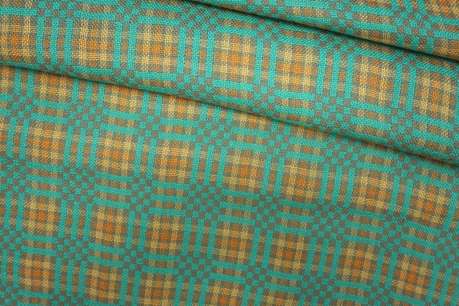Костюмная шерсть с шелком в клетку бежево-бирюзового цвета PRT-H7 25071909