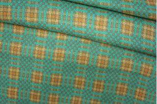 Костюмная шерсть с шелком в клетку бежево-бирюзового цвета PRT-D4 25071909