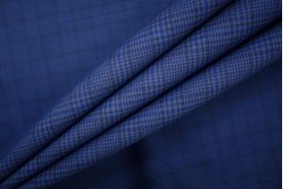 Костюмно-плательный хлопок в клетку черно-синий PRT-B5 24061913