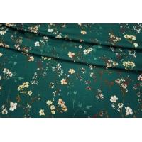Трикотаж вискозный цветы на зеленом LEO-D2 28091804