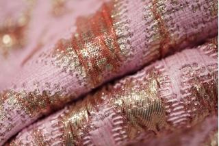 Жаккард костюмный нарядный розовый с люрексом PRT-F2 03021901