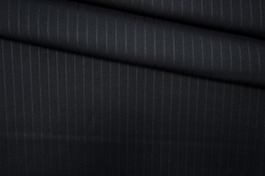 Костюмная шерсть черная в полоску PRT-F2 11071910
