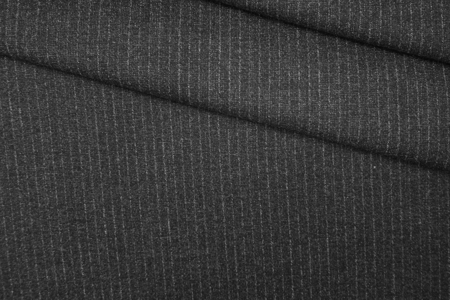 Твид шерстяной темно-серый в полоску PRT-С7 11071933