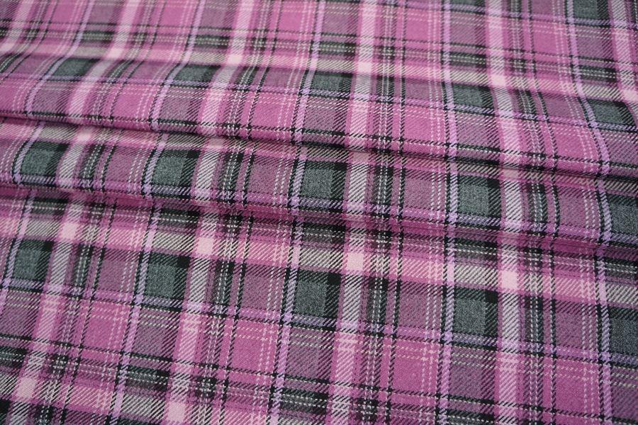 ОТРЕЗ 2,5 М Костюмно-плательная шерсть в клетку розовая PRT-M4 24011905-1