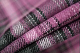 Костюмно-плательная шерсть в клетку розовая PRT-M4 24011905