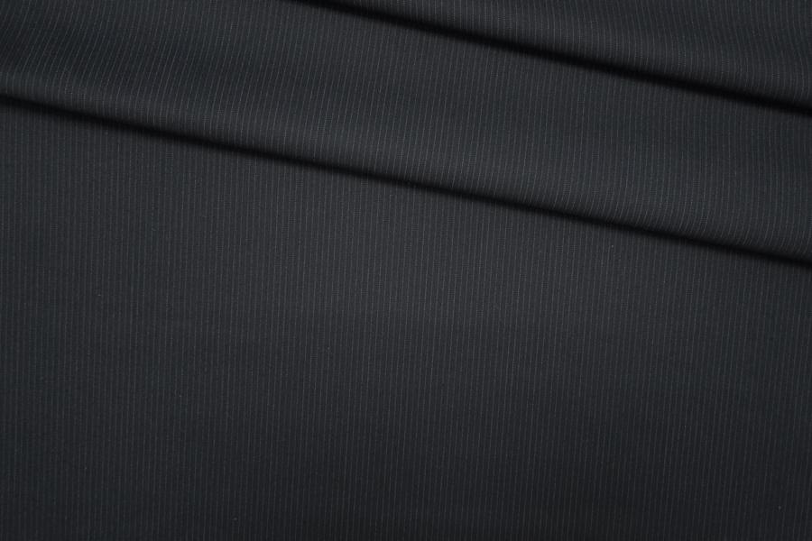 ОТРЕЗ 2.5 М Костюмная шерсть черная в полоску PRT-X5 12071921-1
