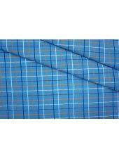 Рубашечный хлопок тонкий в клетку голубой PRT-B2 10061917
