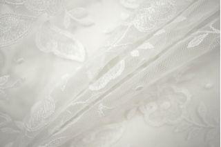 Кружево на сетке цветочное белое PRT-L2 26041919