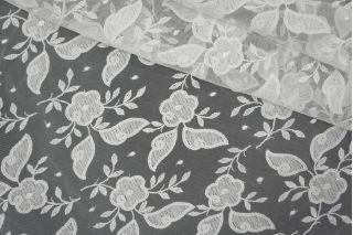 Кружево на сетке цветочное белое PRT-ВВ2 26041919
