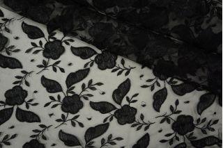 Кружево на сетке цветочное черное PRT-J2 26041920