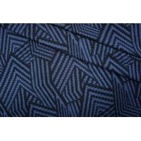 Трикотаж геометрия черно-синий PRT 24041929