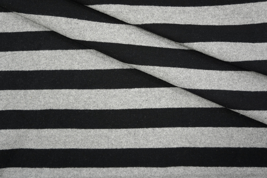 ОТРЕЗ 1,7 М Трикотаж хлопковый в полоску серо-черный PRT-M4 23041943-1