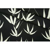 ОТРЕЗ 1,6 М Креп вискозный листья на черном PRT-H3 09061902-1
