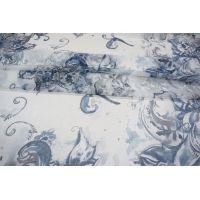 ОТРЕЗ 2,5 М Шифон шелковый цветы синие PRT-D5 04031911-1