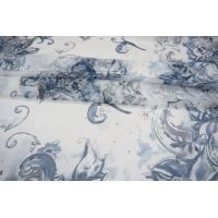 Шифон шелковый цветы синие PRT-D5 04031911