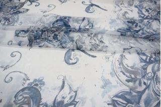 Шифон шелковый цветы синие PRT-H3 04031911