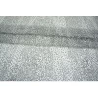Шифон шелковый орнамент серо-белый PRT-G3 04031914