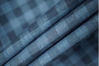 Рубашечный хлопок тонкий в клетку синий PRT-B3 06031929