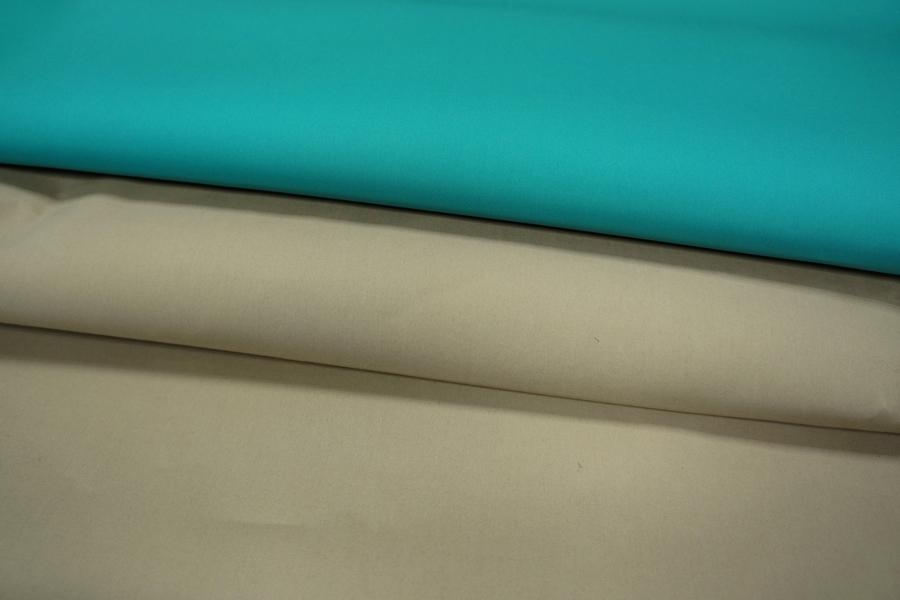 ОТРЕЗ 1,3 М Плащевка хлопковая двусторонняя бирюза-бежевый PRT1-I2 05021903-2