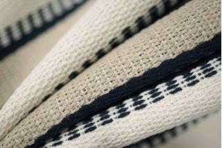 Шанель костюмная хлопковая в полоску сине-бело-бежевая PRT-H7 05021930